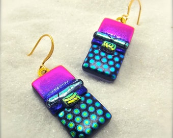 Dichroic fused glass jewelry, dichroic earrings, Dichroic glass earrings, Glass jewelry,Statement earrings, artistic jewelry, glass earrings