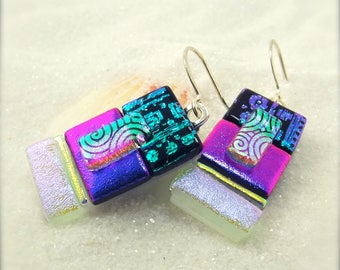 Dichroic fused glass earrings, dichroic fused jewelry, glass jewelry, trending now, statement earrings, rainbow jewelry, fused glass fusion