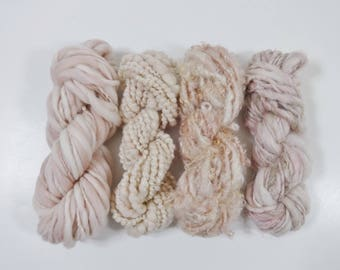 Handspun Art Yarn Knitting Weavers Pack 4 Mini Skeins Collection pink cream ivory tan