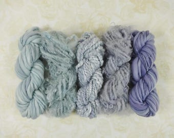Handspun Art Yarn Mini Skein Collection Variety Pack 60 yards misty blue lavender purple