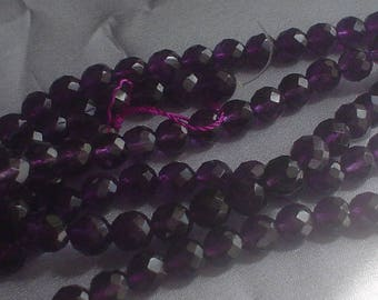 natural gemstone purple amethyst faceted round beads 8 mm / 15 inch
