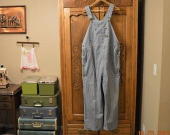 SALE Oshkosh Hickory Stripe Bib Overalls,Waist: 44,Classic Railroad ,Union Made in USA,Vintage 60's 70's,Unisex & Adult Clothing