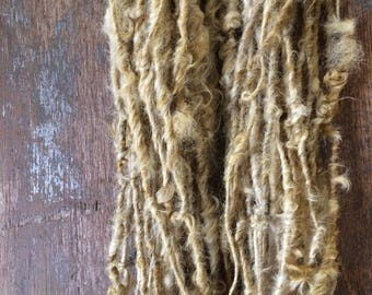 Onion Skin, naturally dyed Lincoln wool locks yarn, 26 yards, bulky chunky curly handspun rustic