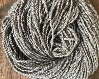 Hoarfrost, 132 yards, light bulky weight handspun yarn, undyed grey yarn, natural grey yarn, grey weaving yarn, rustic handspun yarn