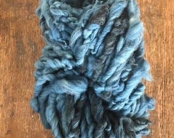 Indigo dyed, handspun bulky yarn, 60 yards, bulky yarn, rustic art yarn, chunky yarn, wool handspun yarn