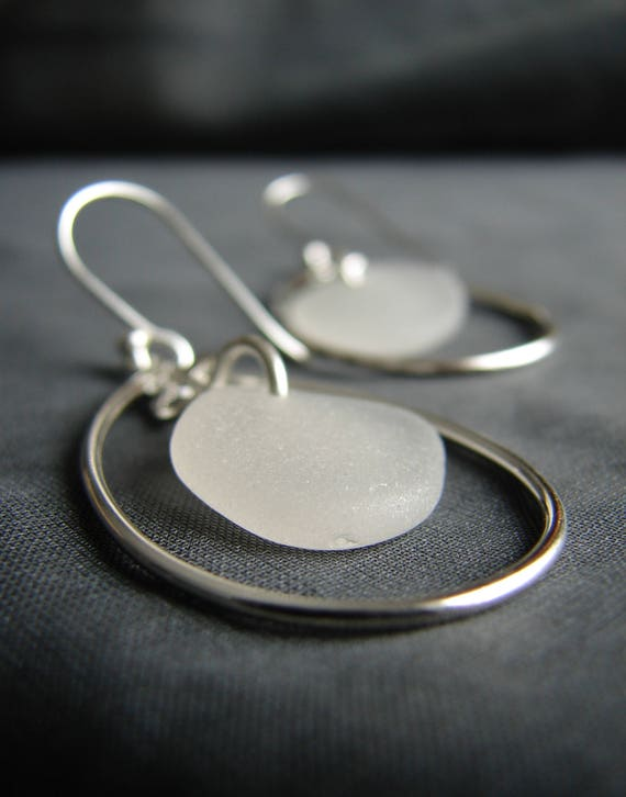 Sea Keeper sea glass earrings in pure white