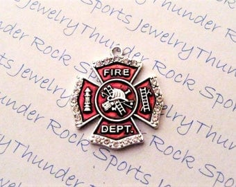 FIREFIGHTER CHARM, maltese cross, hydrant, clear crystals, PENDANTS, red enamel, Occupations, ladder, fireman's hat, fire department