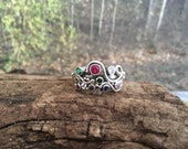 unique mothers stacking rings . sterling silver & 8 birthstones . (( Wild Garden Mothers Ring )) . multi stone ring . last payment wanda abt