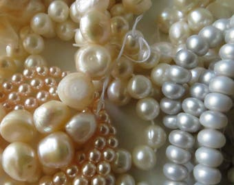 Pearl Beads - Assorted Sizes, Colors and Shapes - Destash