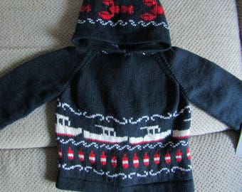 handmade lobster buoy boat nautical zip up the back hoodie sweater infant