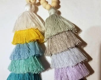 Yoga  Style Stacked Tassel Necklace
