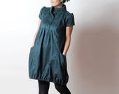 Green bubble dress, Blue-green faux suede dress, short sleeves and wide pockets, Womens clothing, Womens dresses, MALAM Size UK 10