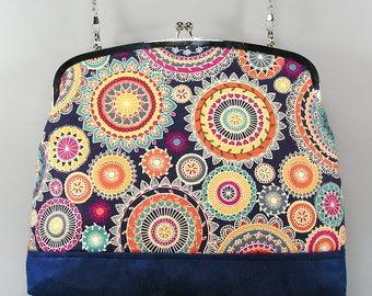 Bowling bag, Sac à main, handbag, bandoulière, shoulder strap, Sac en coton et suédine, cotton fabric