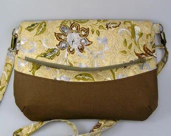 Handbag, pouch, shoulder bag, green beige cotton shoulder bag with floral pattern, bottom brown canvas