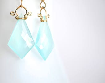 Celine - Aqua Chalcedony 14k GF Earrings || Chalcedony Dangles || 14k Gold Filled Geometric Earrings