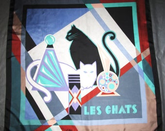 Les Chats Scarf - by Bob Mackie - Large Silk Scarf with Geometric Cat Print - Green Lavender Peach Black and White