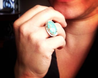 Kiss on the Sandbar Ring - Turquoise and Sterling Silver size 6.25