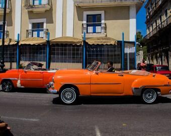Photograph Cuban vintage cars street scene orange red blue cream travel photography classic cars Havana original art wall decor