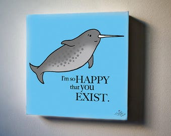 """Sea Inspirations: Narwhal Loves You. 8""""x8"""" Canvas Reproduction"""