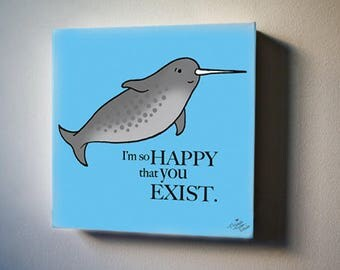 "Sea Inspirations: Narwhal Loves You. 8""x8"" Canvas Reproduction"