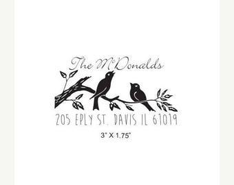 Super Summer Sale Love Birds on a Branch Custom Return Address Rubber Stamp AD289
