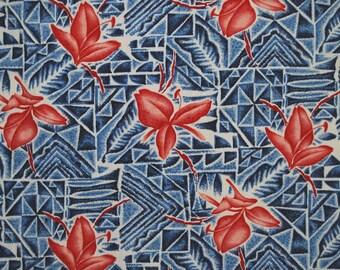 Vintage 1940s Hawaiian fabric 35 inch wide Polynesian Tiki sarong fabric vintage