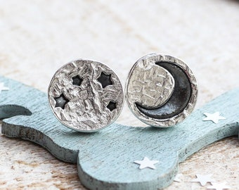 Moon Earrings, Star and Moon Earrings, Mismatched Studs, Silver Moon Earrings, Crescent Moon Studs, Moon Phase Earrings, Celestial Jewellery