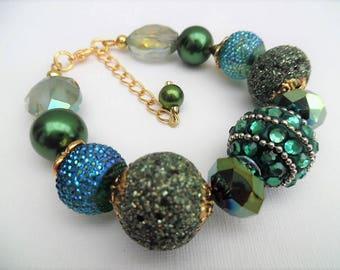 Forest Green Bracelet, Chunky Beaded Bracelet, Gift for Women, Teal Jewelry, Green Jewelry, One of a Kind Jewelry, Single Strand Bracelet
