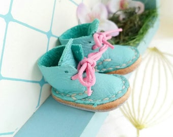 Mini Teal Turquoise Lace Up Blythe Doll Boots Azone Pure Neemo M S