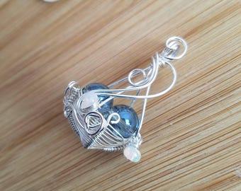 Aqua Aura Quartz Ethiopian Welo Opal Beads Handmade Wire Wrapped Jewelry Sterling Silver Basket Pendant