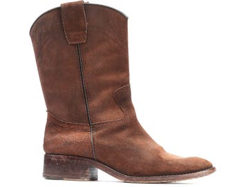 Suede Cowboy Boots 70s Vintage Suede Leather Cowgirl Western Distressed Faded Brown Southwestern Booties wom Us 6.5 , Eur 37 , Uk 4