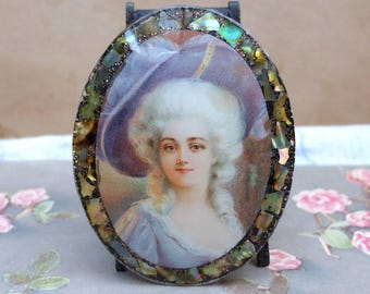 Antique Woman Portrait Pin Abalone Accent