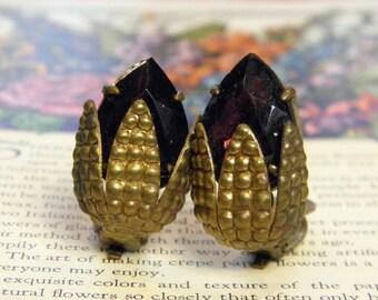 Vintage German Earrings Clip On Ear of Corn