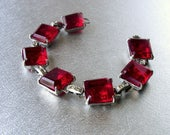 Vintage Chunky Red Rhinestone Bracelet Costume Jewelry Link Ruby Faceted Glass Formal Evening Prom Pageant Ballroom Cocktail  Small Medium