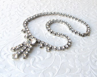 50s Vintage Rhinestone Necklace Bib Fringe Chain Dangle Choker Wedding Bridal Formal Ballroom Pageant Cocktail Prom Evening Costume Jewelry