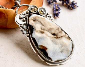 SOLD ---DEPOSIT ---------------------------Agate Druzy Necklace, Unique One of a Kind Jewelry, Cosmos Inspired Jewelry