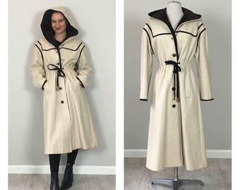 vintage 50's velvet trim hooded princess coat   MEDIUM