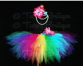 SUMMER SALE 20% OFF Rainbow Tutu and Headband Set - Girls Birthday Tutu - Iris, a magical rainbow pixie - 12'' Sewn Tutu - up to size 5T