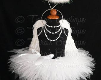 """SUMMER SALE 20% OFF Angel Tutu Costume w/ Halo - 13"""" Tutu, Angel Wings, and Feather Halo - For Girls, Pre-Teens, Teens - Valentine's Day"""