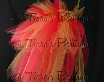 "SUMMER SALE 20% OFF Fire Goddess, Women's Custom Sewn 3 Tiered Pixie Tutu Bustle, Red and Gold, up to 24"" long"
