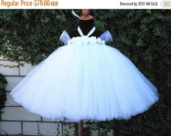 """SUMMER SALE 20% OFF Miniature Bride - Custom Sewn Tutu Dress - up to 20"""" long - sizes newborn up to 24 months - Perfect for weddings and Hal"""