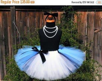 SUMMER SALE 20% OFF Birthday Tutu - Blue Tutu - Sewn Blue Black and White Tutu w/ Apron Look - Ready To Ship - Alice in Wonderland - sizes u
