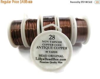 Summer SALEabration - Antique Copper Wire - 28 Gauge Wire Wrapping Jewelry Supplies, Round Half Hard Wire, Non Tarnish Wire