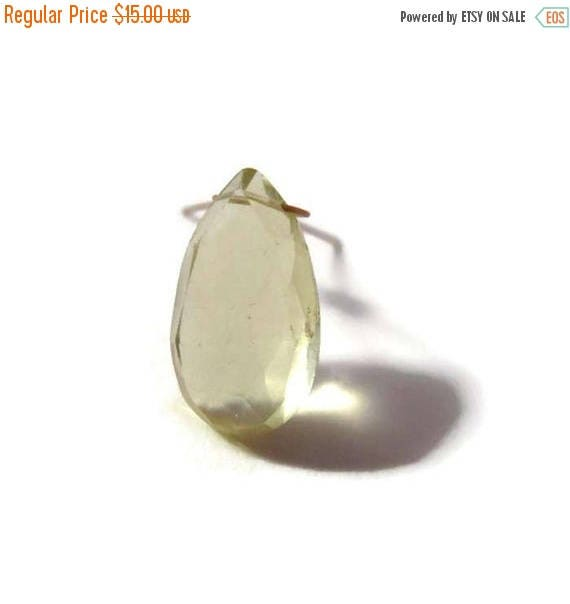 Summer SALEabration - One Lemon Quartz Focal Bead, Large Yellow Gemstone Teardrop Bead for Jewelry, 15.5mm x 8.5mm Stone (L-Mix4b)