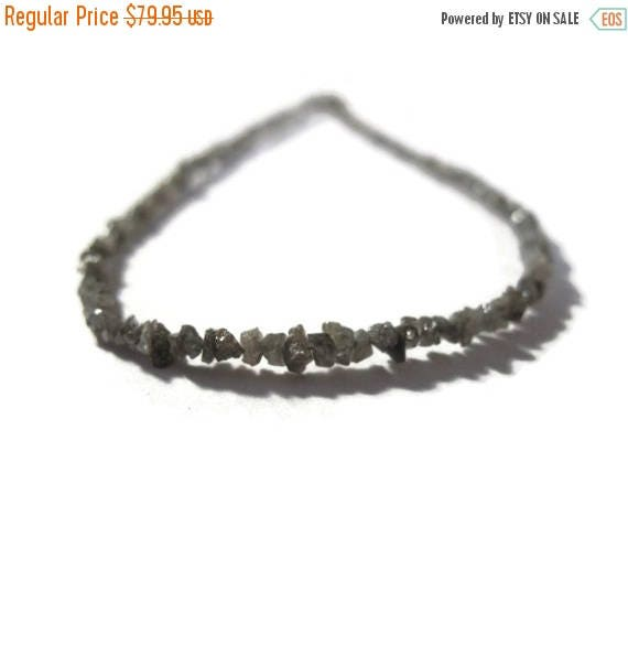 Summer SALEabration - Rough Diamond Beads, Tiny Silvery Gray Nuggets, Natural Raw Diamonds, Conflict Free, 8.5 inch Strand, Gray Diamonds (S