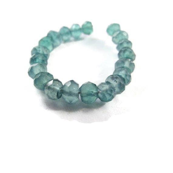 Green Onyx Rondelles, Faceted 3mm Natural Gemstones, 15 Count of Little Green Gemstone Beads for Making Jewelry (L-Go3)