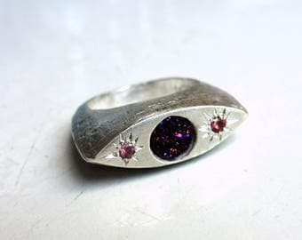 Relic Ring in Sterling Silver with purple druzy and pink sapphires- handmade statement eye ring