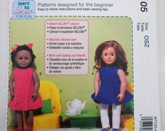 McCalls 7105 18 Inch Doll Furniture and Doll Dress Pattern Doll Chair and Table