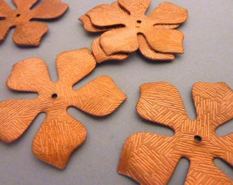 3 Huge Etched Copper Flowers for Stacking
