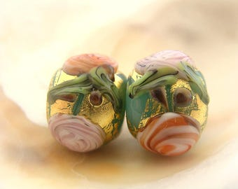 Golden Kryptonite Roses Bead Pair Handmade Lampwork
